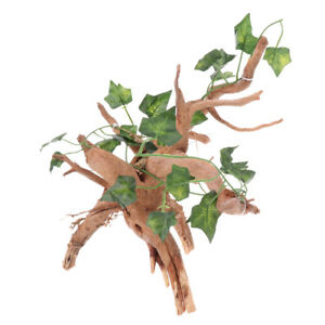 Wood Tree Root with Ivy Vine for Reptiles and Amphibians Habitat Plant Decor