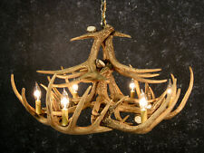 Wooden antler chandeliers for sale ebay cast whitetail 12 antler chandelier rustic cabin lighting made in usa aloadofball Choice Image