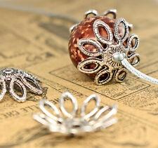 10x Perlen Kappen Zwischenperlen Spacer Schmuck DIY Basteln Blume silbern 20mm