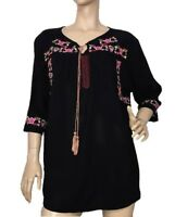 WITE SIZE 12 BLACK EMBROIDERED TOP