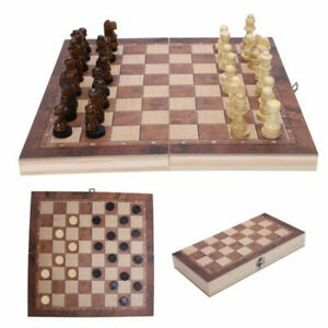 Schachspiel Figuren aus Olivenholz Brettspiel-Set Neu Schach edles 3 in1 29*29CM