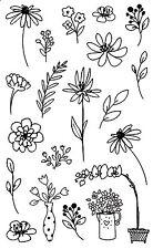 Mrs. Grossman's Giant Stickers - Pen & Ink Flowers - Iris, Daisy - 2 Strips