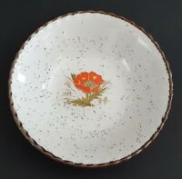 Japanese Stoneware Poppy Bowl Made in Japan Flower Center Brown Speckles Rim