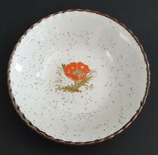 Vintage Stoneware Bowl Made in Japan Poppy Flower Center Brown Speckles Rim