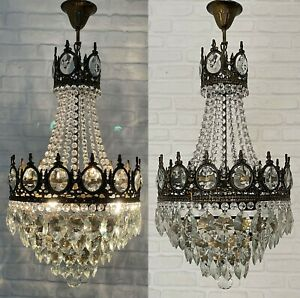 Matching Pair of Antique Vintage Brass & Crystals Empire Chandeliers Lamp Light