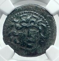 AMPHIPOLIS Macedonia 148-31BC Ancient Greek Coin GORGONEION ATHENA NGC i77633