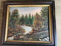 "Antique ""Landscape With Many Figures Scene"" Oil On Board Painting - Framed"