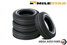 4 X New Milestar MS775 P175/80R13 86S White Side Wall All Season Touring Tires