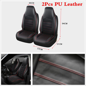 Universal 2 Front Car Seat Covers PU Leather Black/Red For High back bucket seat