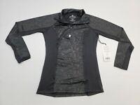 90 DEGREE by REFLEX 1/4 Zip Black Print Long Sleeve Top Jacket NEW Womens S