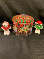 M&M's Metal Tin Collector Merry-Go-Round Carousel Christmas 1997 + Candy Holders