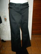 Pantalon fluide noir COLOURS OF THE WORLD  42FR taille basse 2 ceintures 18JA14