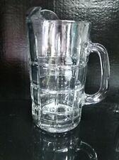 "Anchor Hocking Tartan Clear Pitcher Crystal 50 ounce 9"" w Ice Lip Tartan Clear"