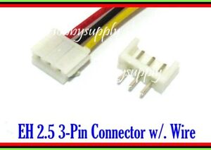 3 Pin EH 2.5mm male connector housing wire cable 30cm PCB Straight Header x 30