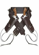 Deluxe Marrone Cowboy DOPPIA FONDINA SIMILPELLE CINTURA adulto Costume Occidentale