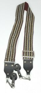 Vintage Camera Strap for 35mm w/ Leather Lugs Protectors 70s 80s Geometric