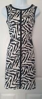 Womens Karen Millen Dress size 8 animal print white black pencil party vgc