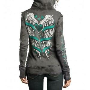 Sinful By Affliction Women's Love Bandit Reversible Hoodie Size Small