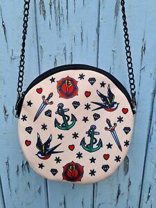 Round Vintage Tattoo Bag - Handbag Swallow Nautical Anchor Sailor Jerry