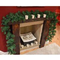 9FT Christmas Garland Fireplace Wreath Xmas Pre Lit Rattan Pine DIY Decor New