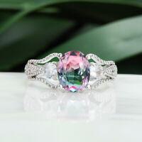 Luxury Oval Cut Pink Topaz Aquamarine Wedding Ring 925 Silver Tourmaline Jewelry