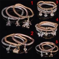 3Pcs/Set Women Gold Silver Rose Gold Bracelets Set Rhinestone Bangle Gift TFSU
