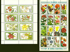 EQUATORIAL GUINEA 2  FULL SHEETS FLOWERS FLORES THEME 1 CANCELLED
