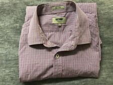 Mens OXFORD Button Down Long Sleeve Collared Business Shirt Purple Blue Size L