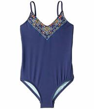 $150 Hobie Swimwear Girl's Blue Embroidered V-Neck Two-Piece Swimsuit Size 12