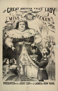 Framed Print - Victorian Freak Show Poster - Big Fat Lady (Human Oddities Art)