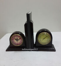 Antique Bookend With Nautical Clock & thermometer Bookends Book Ends