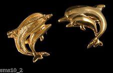 Gold Tone Twin Dolphin Brooch CJB105