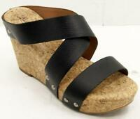 Lucky Brand Maldaz Black Leather Cork Wedge Women's Sandals Sz 7/37 M