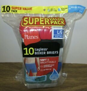 New Men's Hanes 10 Tagless Premium Soft & Breathable Cotton Boxer Briefs L 36-38