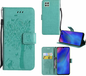 Galaxy A22 5G Pu Leather Wallet Case Embossed Cat And Tree Card Slot