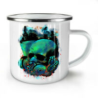 Grenade War Gas Skull NEW Enamel Tea Mug 10 oz | Wellcoda