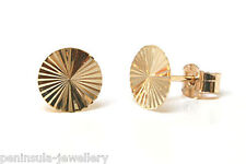 9ct Gold Small stud Earrings Diamond cut Gift Boxed Made in UK