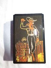 New retro 1950's neon sign cowboy laquered slider trinket pill box black Vegas