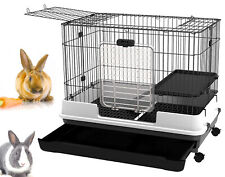Large 2-Floor Indoor Small Animal Rabbit Bunny Hutch Cage Cat Ferret With Wheel
