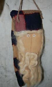 "Handmade Primitive Vintage Quilt Christmas Santa Wall Hanging Decor 12""x5""x2"""