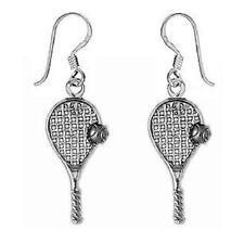 Dangle Earrings, Made in Usa Sterling Silver Tennis Racket & Ball
