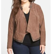 Sejour Plus Size 22W Lightweight Suede And Leather Trim Jacket, Retail $369