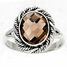 Faceted Natural Smoky Quartz - Brazil 925 Sterling Silver Ring s.8 Jewelry E568