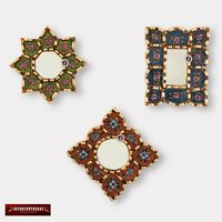 "Small Decorative Wall Mirror set of 3 - Accent Vintage mirrors of 4"" wall decor"