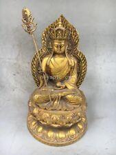10'' bronze gild gold carvings buddhism temple Monk Ksitigarbha Bodhisattva