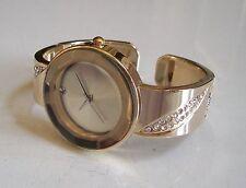 Designer style rhinestone  gold finish Geneva bangle women fashion bling watch