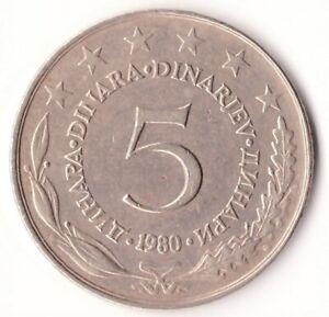 5 Dinara 1980 Yugoslavia Coin KM#58