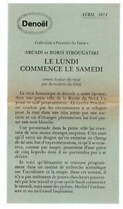 "AFFICHETTE - EDIT. DENOËL - STROUGATSKI - ""LE LUNDI COMMENCE LE SAMEDI"" (1974)"