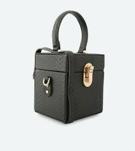 Aldo Stout Black Top Handle Small Box Bag. embossed. Clutch/CROSSBODY.Party New