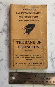 VINTAGE RAILROAD EMPLOYEE TIME BOOK RECORD HERINGTON KANSAS CIRCA 1938
